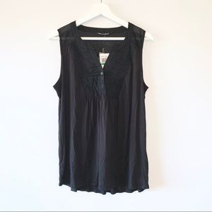 Cable & Gauge black pintuck sleeveless top